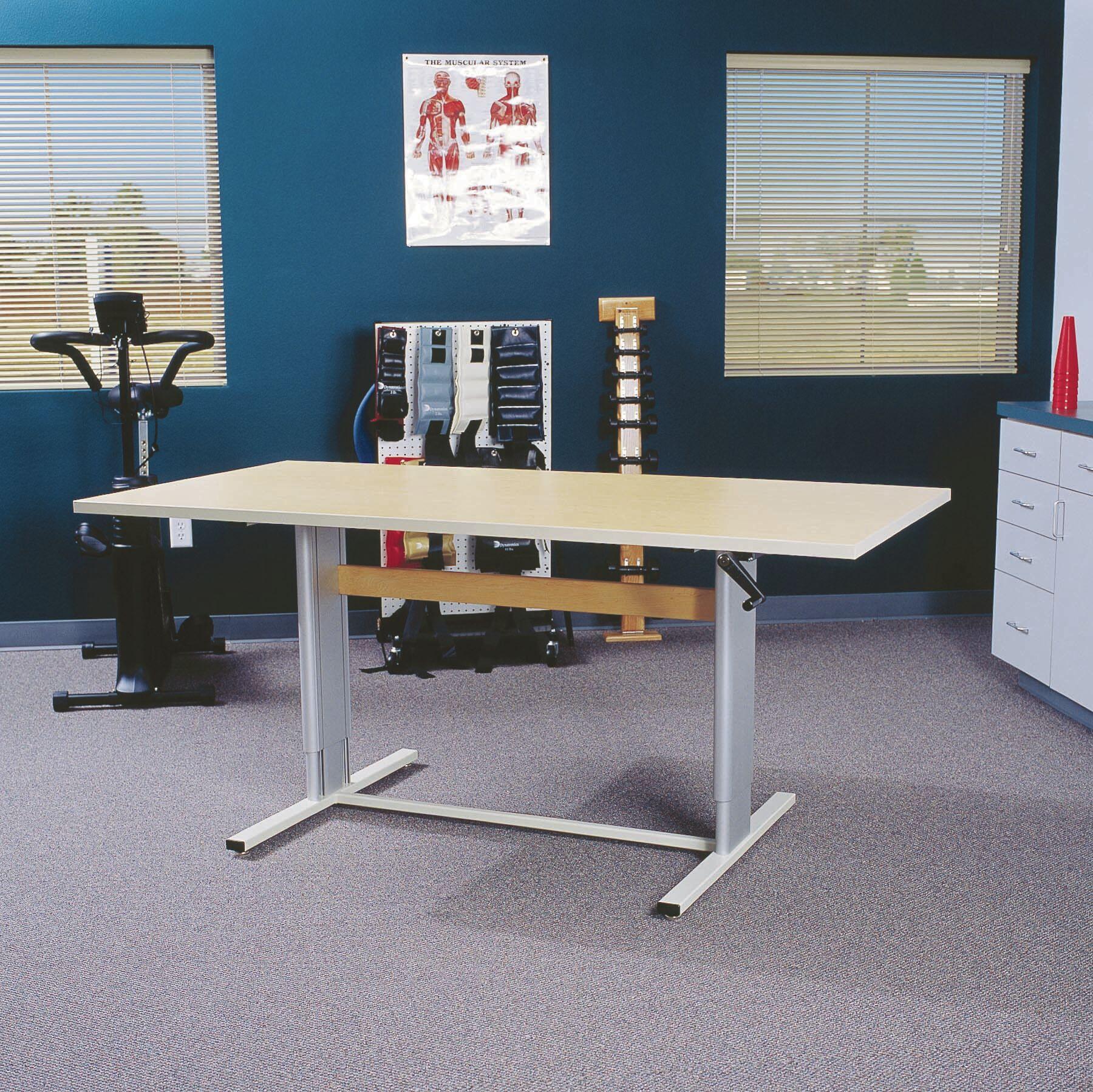 Maciejewski Height Adjustable Training Table Tabletop Finish: Living Teak, Size: 39