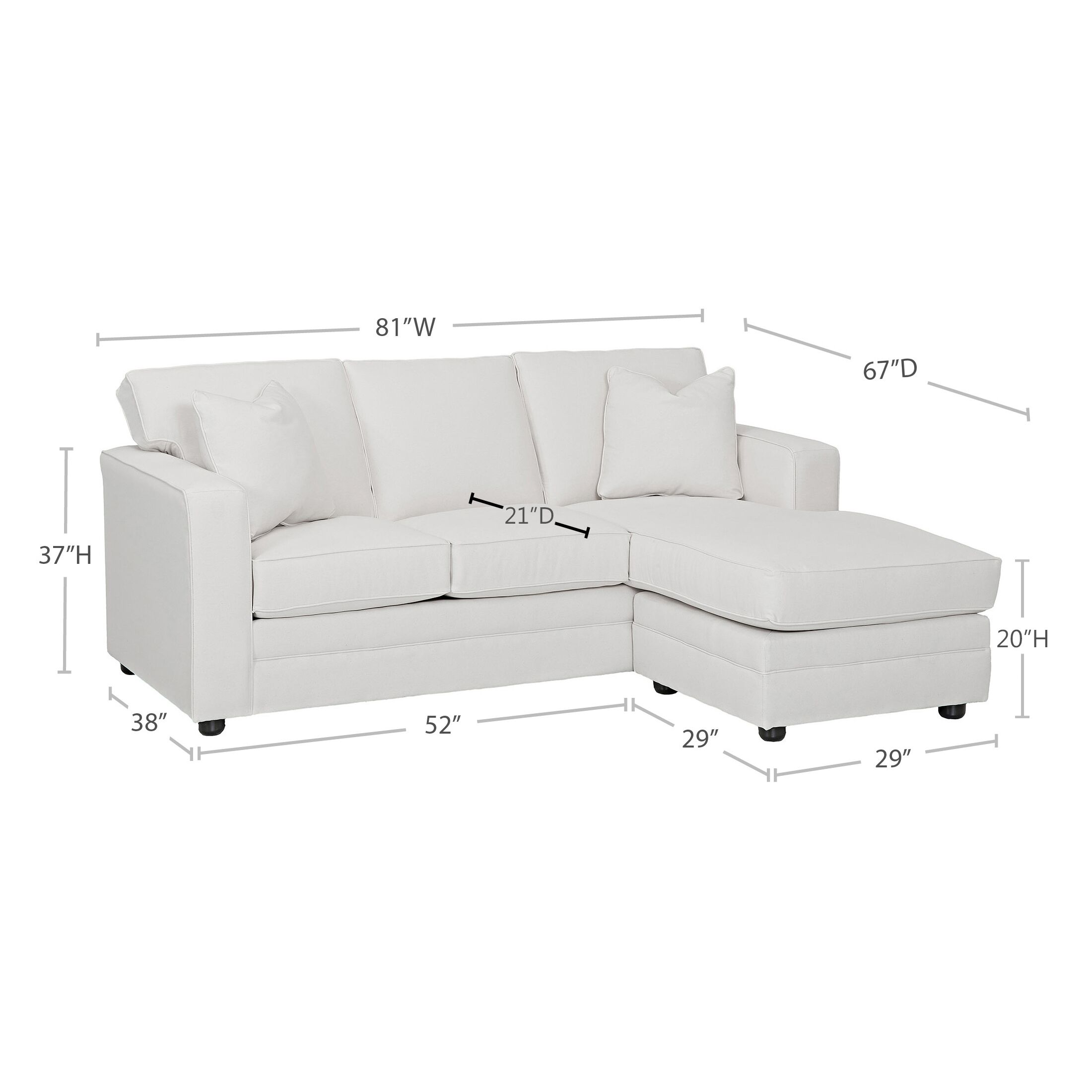 Andrew Reversible Sectional Body Fabric: Hanover Concrete, Pillow Fabric: Lizzy Linen, Piping Fabric: Spinnsol Optic White