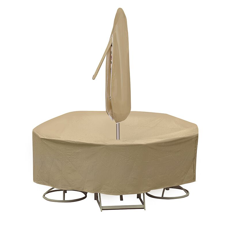 Round Table and Chair Cover with Umbrella Hole Color: Tan