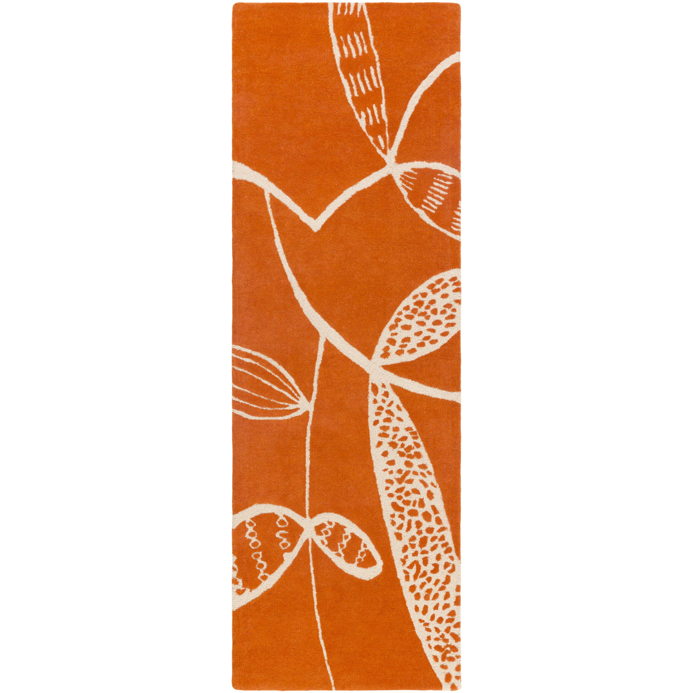 Decorativa Hand-Tufted Orange/Neutral Area Rug Rug Size: Runner 2'6