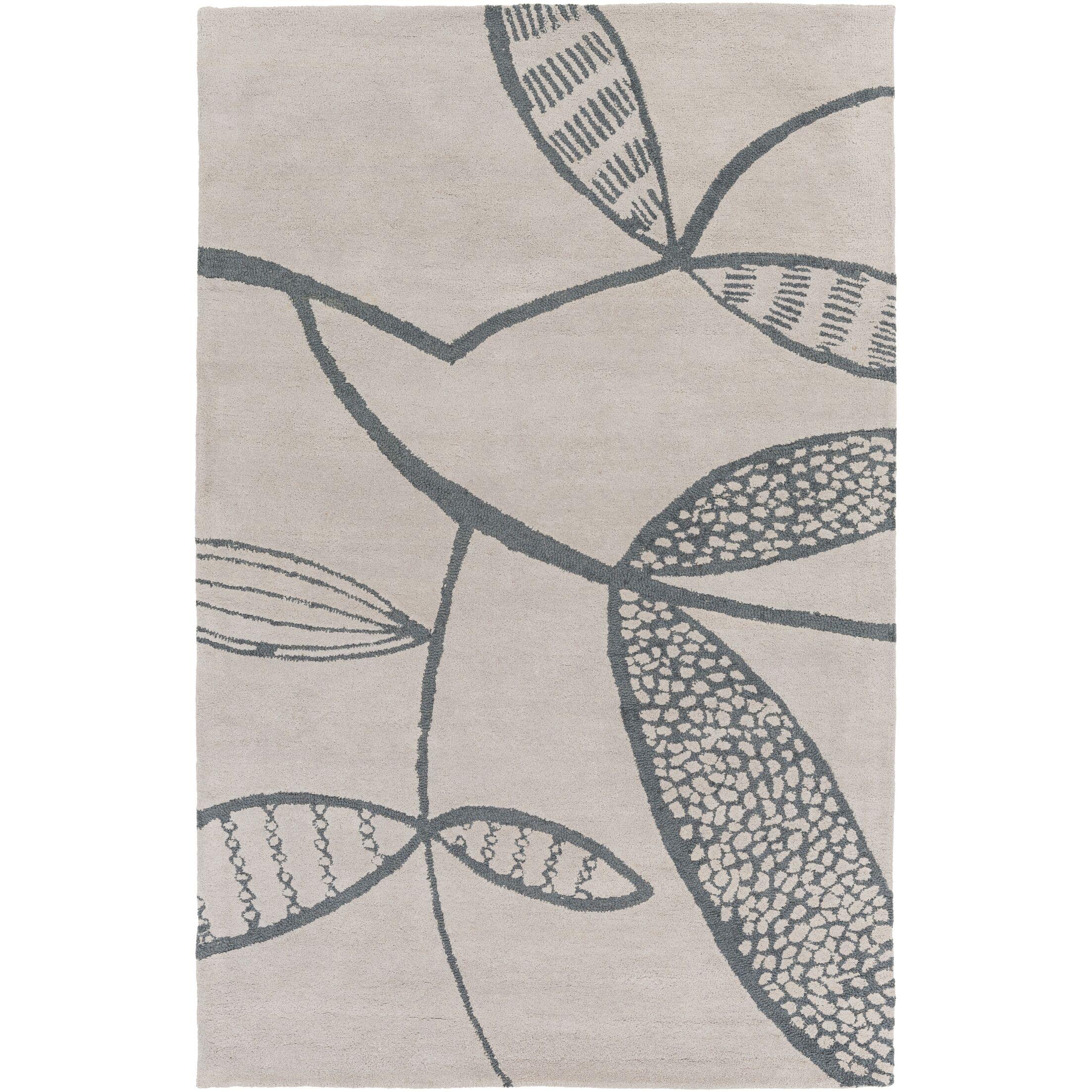 Decorativa Hand-Tufted Gray/Black Area Rug Rug Size: Rectangle 3'3