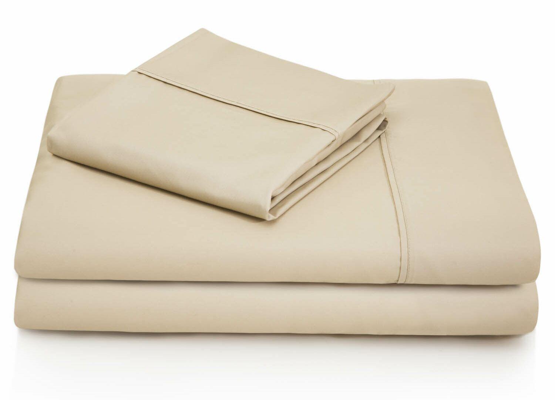 Dan Woven 600 Thread Count Cotton Blend Sheet Set Color: Driftwood, Size: Queen