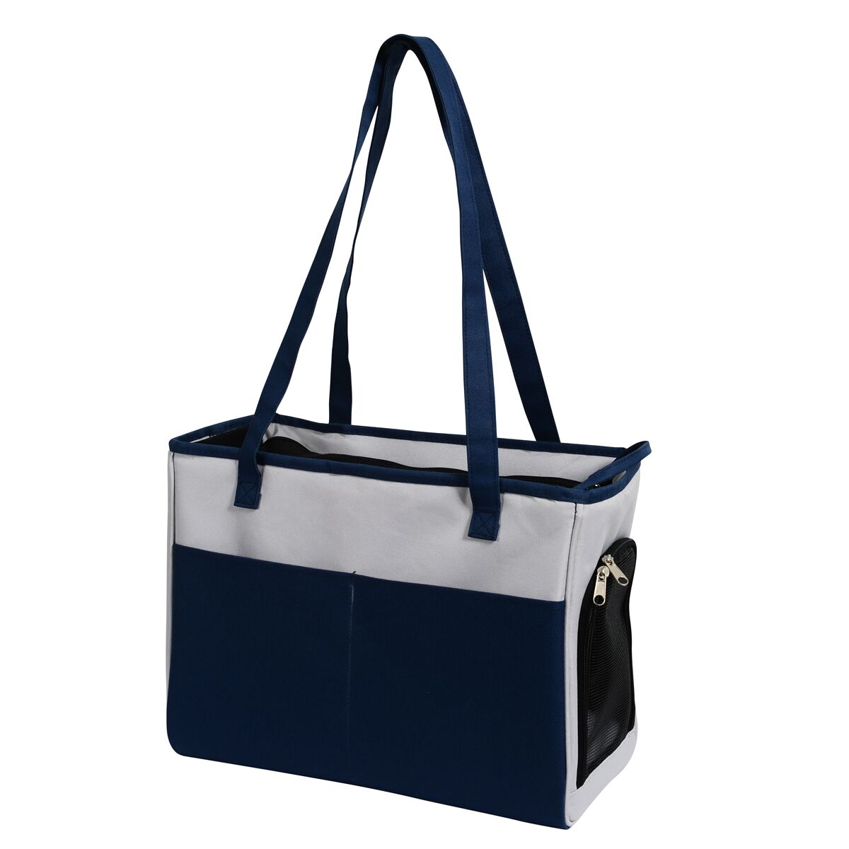 FurryGo Pet Carrier Color: NavyBlue/LightGrey