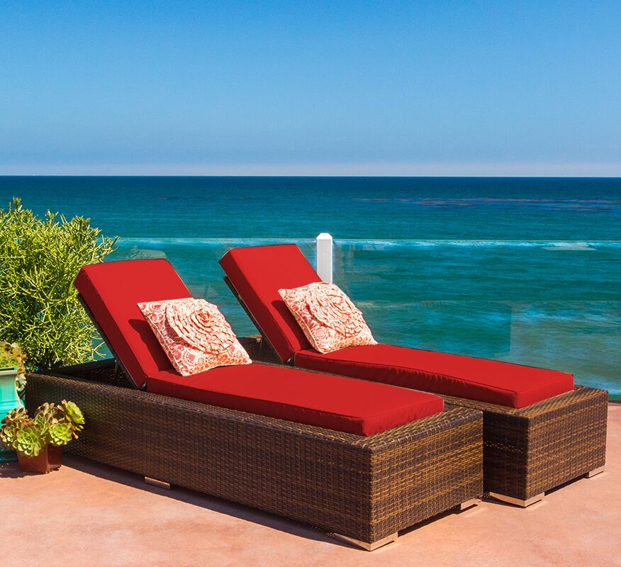Ohana Chaise Lounge with Cushion Fabric: Sunbrella Jockey Red