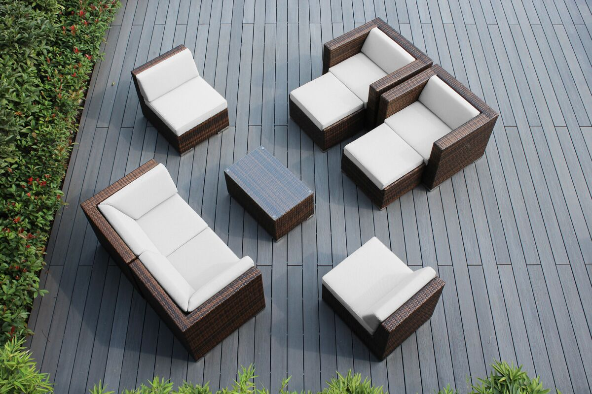 Ohana 9 Piece Sunbrella Sectional Set with Cushions Fabric: Sunbrella Natural