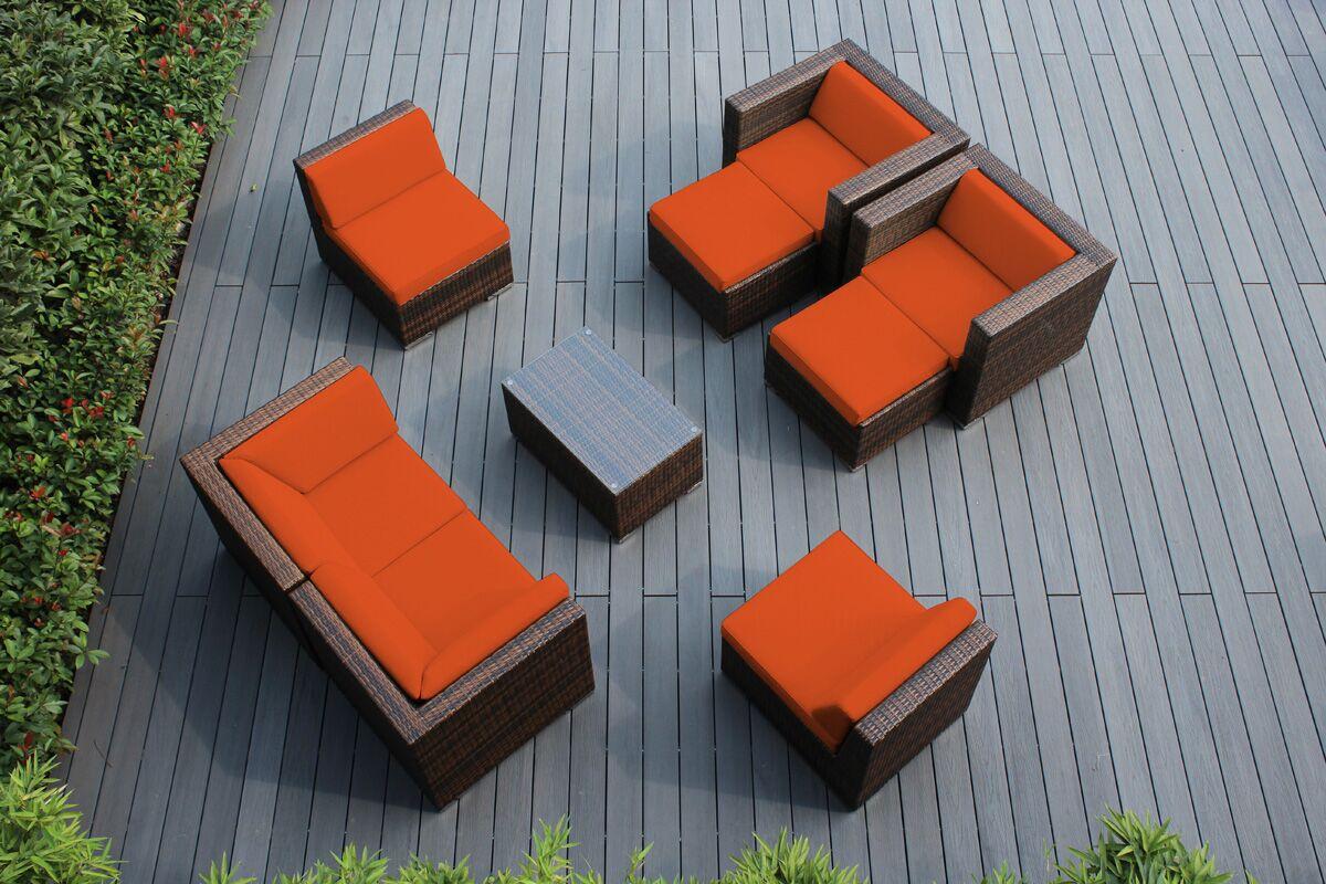 Ohana 9 Piece Sunbrella Sectional Set with Cushions Fabric: Sunbrella Tuscan