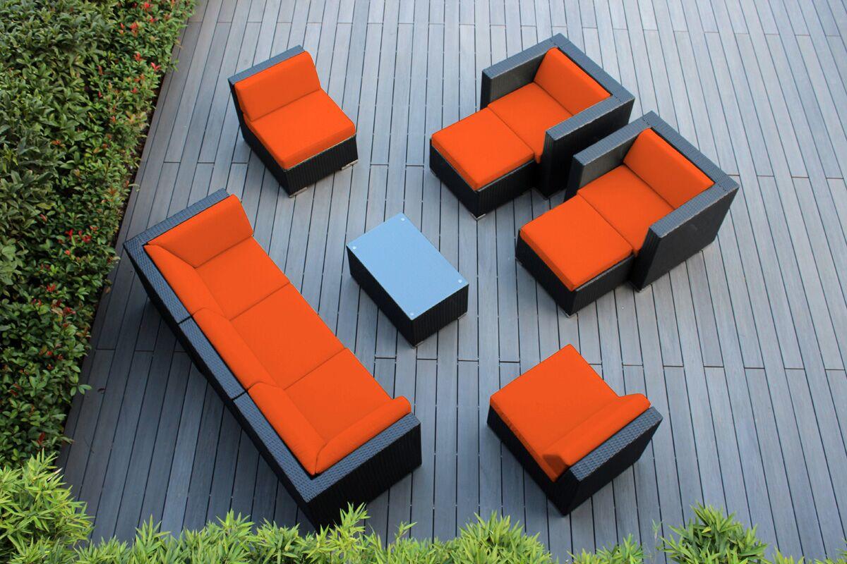 Ohana 10 Piece Rattan Sectional Set with Cushions Fabric: Sunbrella Tuscan