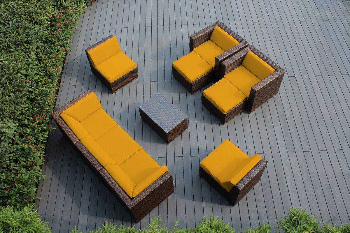 Ohana 10 Piece Sunbrella Sectional Set with Cushions Fabric: Sunbrella Sunflower Yellow