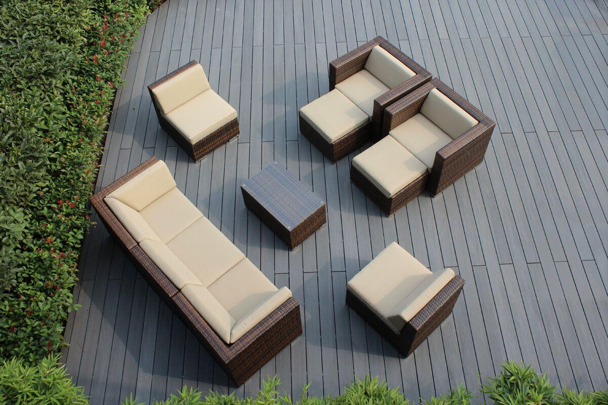 Ohana 10 Piece Sunbrella Sectional Set with Cushions Fabric: Sunbrella Antique Beige
