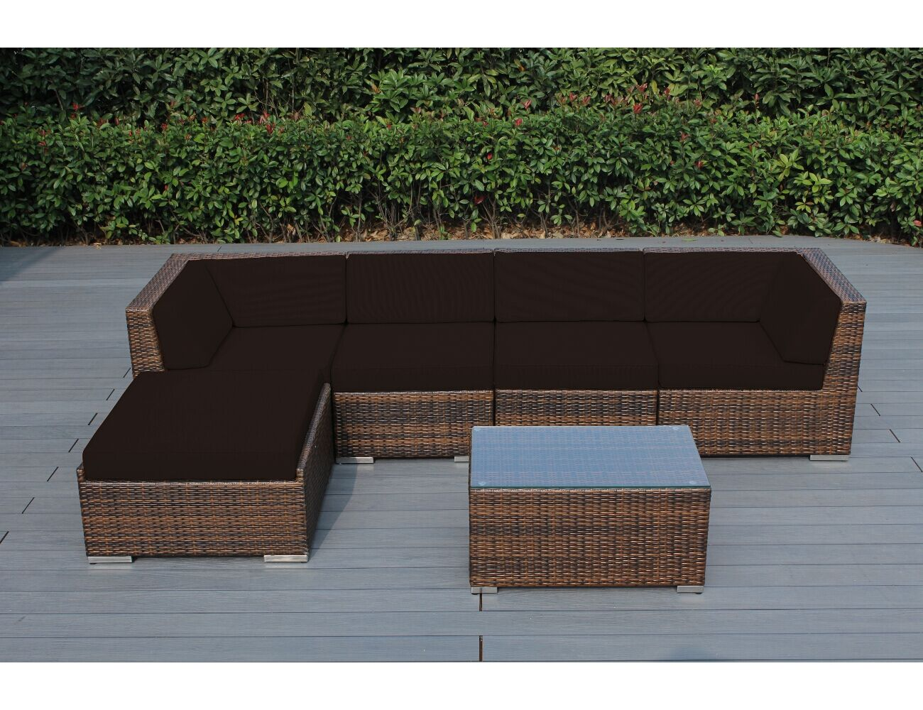 Baril 6 Piece Sectional Set with Cushions Frame Finish: Mixed Brown, Cushion Color: Brown
