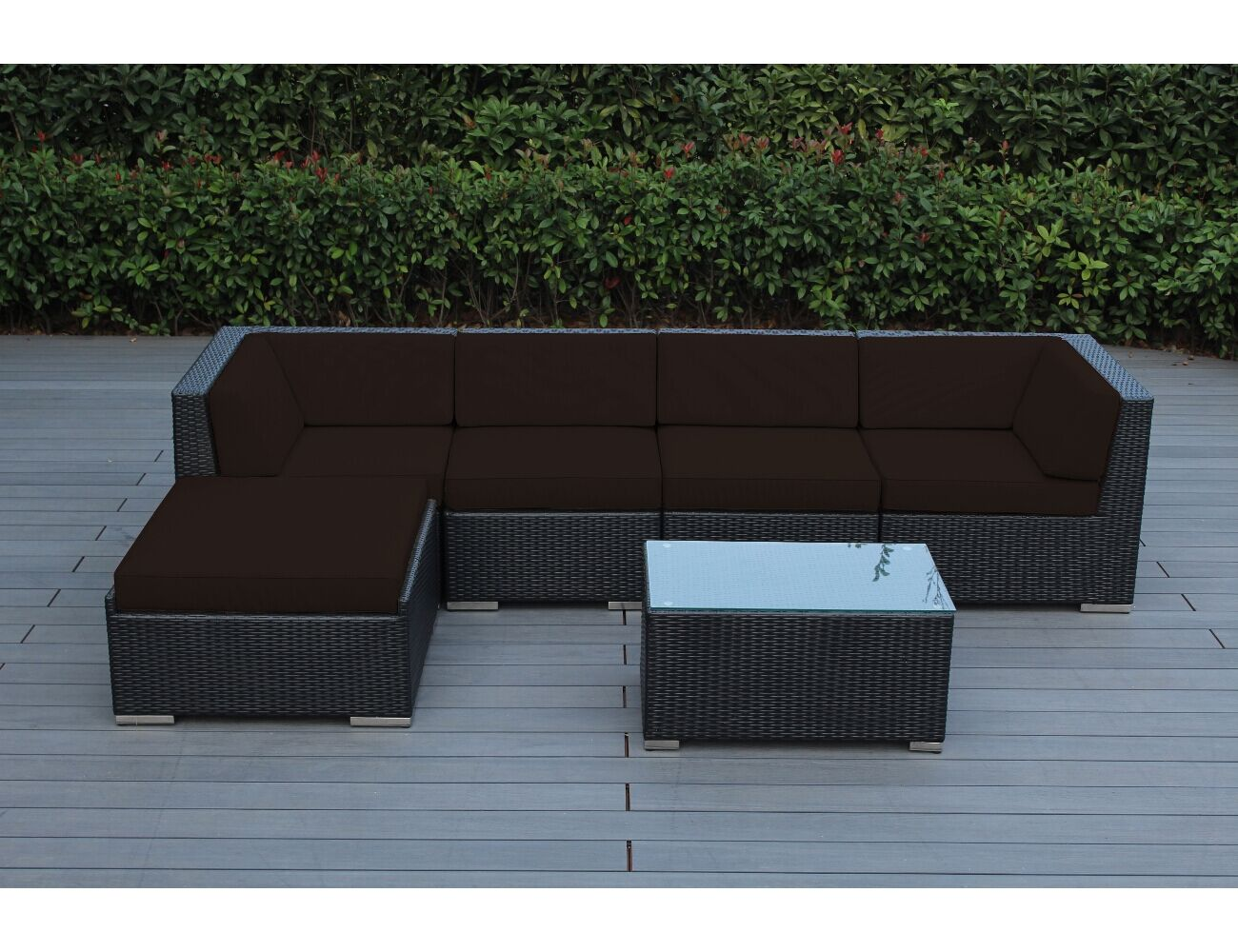 Baril 6 Piece Sectional Set with Cushions Frame Finish: Black, Cushion Color: Brown