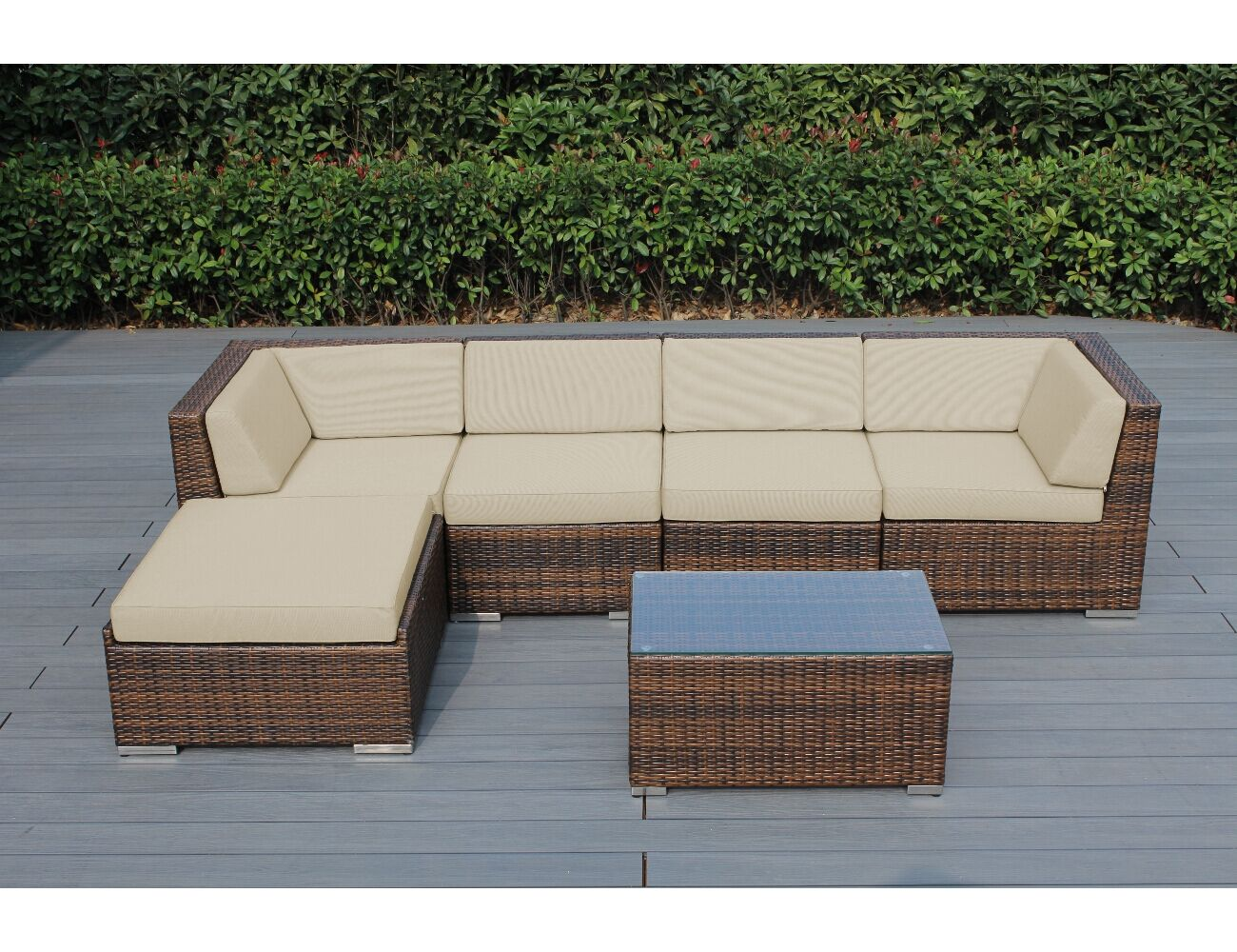 Baril 6 Piece Sectional Set with Cushions Frame Finish: Mixed Brown, Cushion Color: Beige