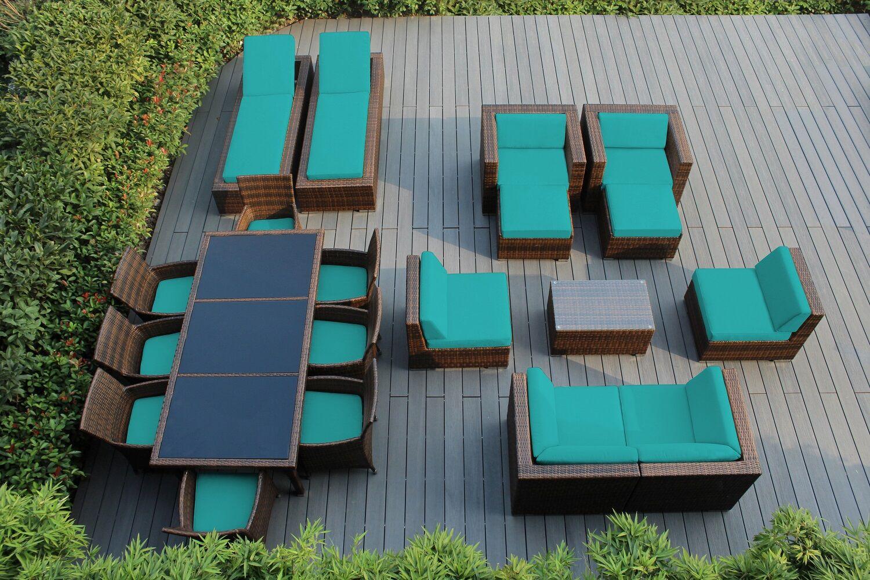 Ohana 20 Piece Complete Patio Set with Cushions Fabric: Sunbrella Aruba, Color: Mixed Brown