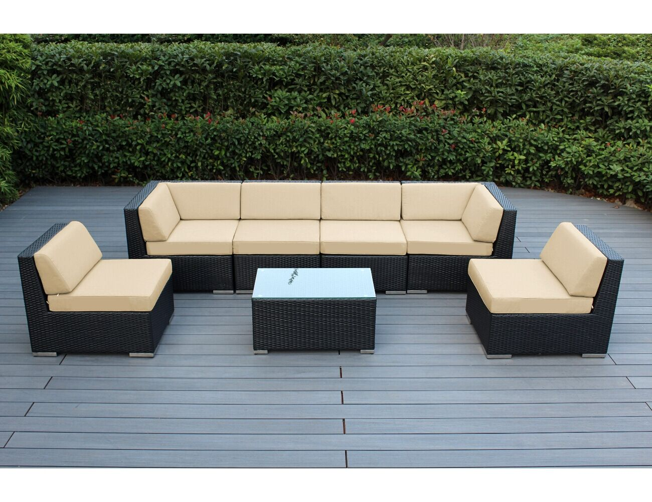 7 Piece Sectional Seating Group with Cushions Cushion Color: Sunbrella Antique Beige, Frame Finish: Black