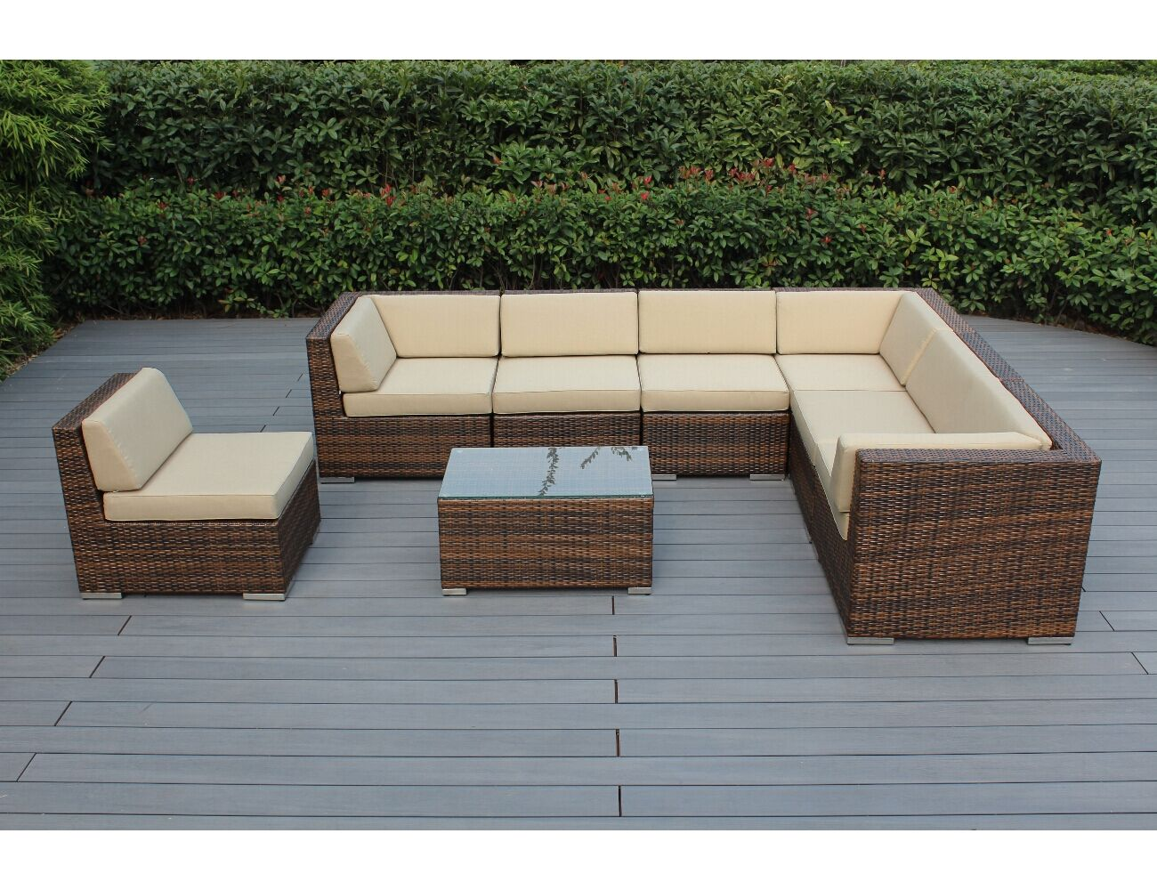 Baril 8 Piece Rattan Sunbrella Sectional Set with Sunbrella Cushions Frame Color: Mixed Brown, Fabric: Taupe