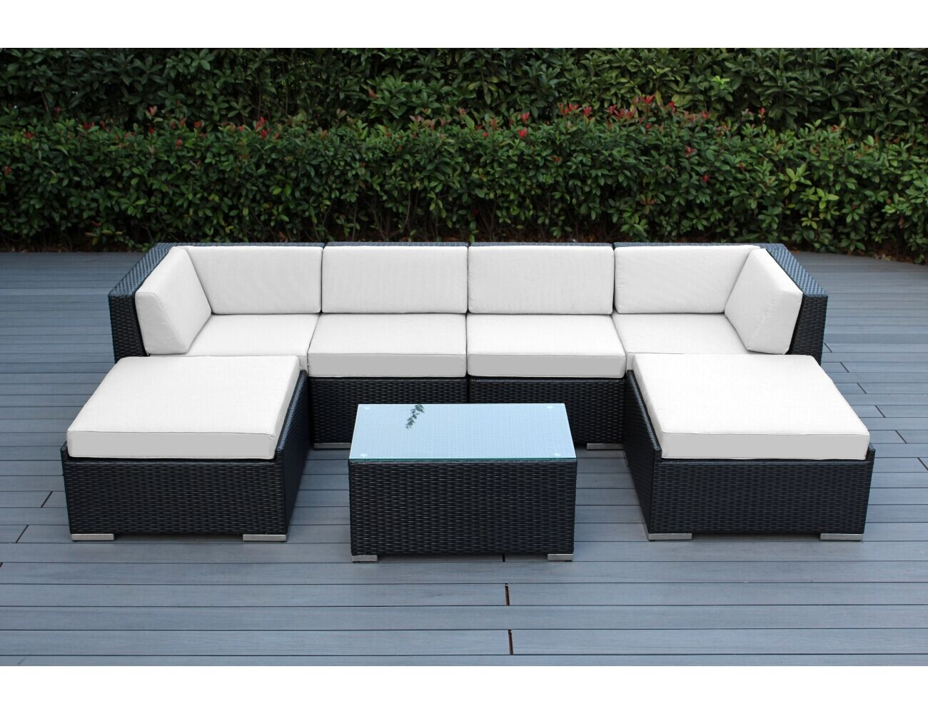 Baril 7 Piece Sofa Set with Cushions Fabric: Sunbrella Natural, Color: Black