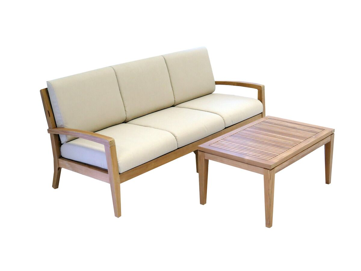 Ohana 2 Piece Teak Sofa Seating Group with Cushions