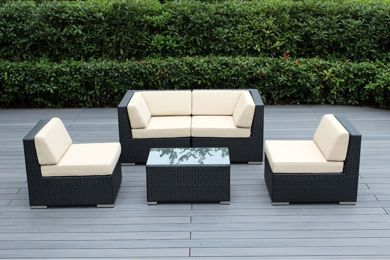 Baril 5 Piece Sectional Set with Cushions Fabric: Beige, Color: Black