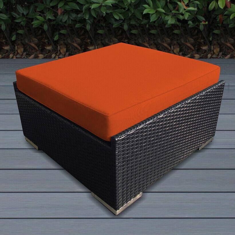 Baril Small Ottoman with Cushion Fabric: Sunbrella Tuscan, Finish: Black