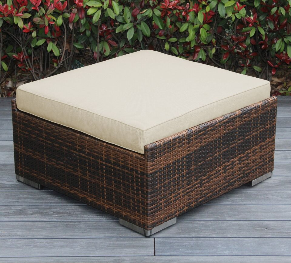 Baril Large Ottoman with Cushion Fabric: Sunbrella Antique Beige, Finish: Mixed Brown