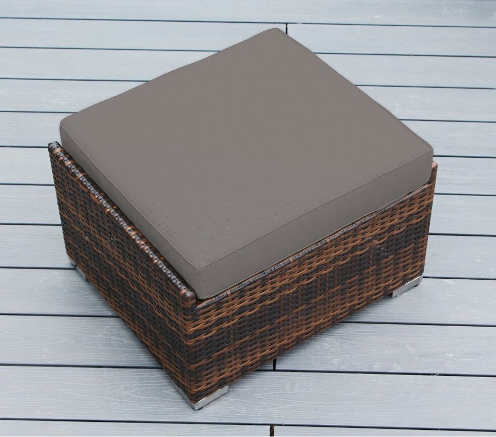Baril Small Ottoman with Cushion Fabric: Sunbrella Taupe, Finish: Mixed Brown