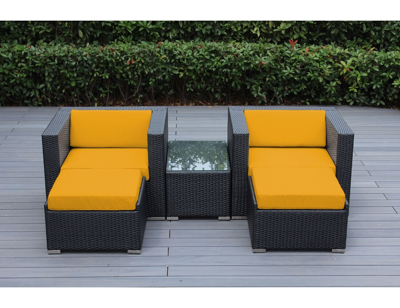 Baril 5 Piece Conservation Set with Cushions Fabric: Sunbrella Sunflower Yellow, Color: Black