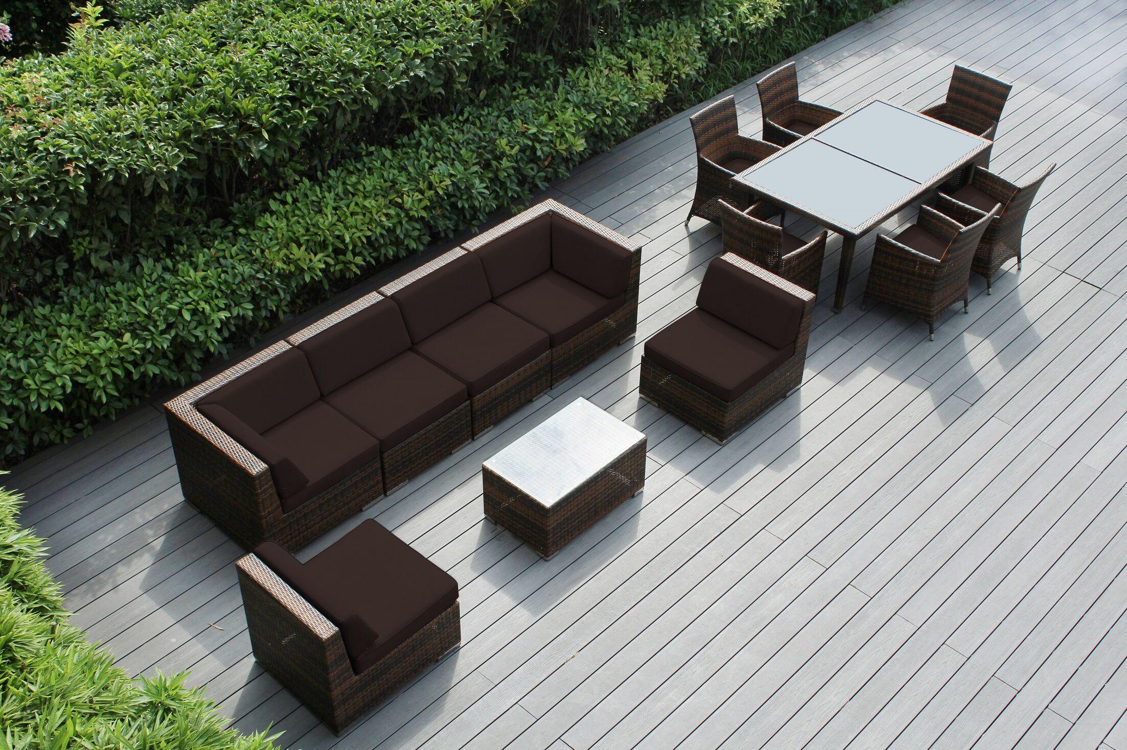 Ohana 14 Piece Complete Patio Set with Cushions Fabric: Sunbrella Bay Brown, Color: Black