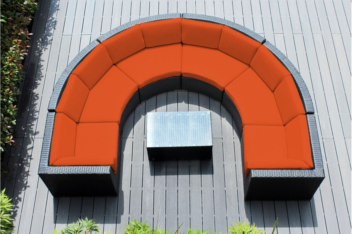 Popham 7 Piece Rattan Sunbrella Sectional Set with Cushions Cushion Color: Tuscan