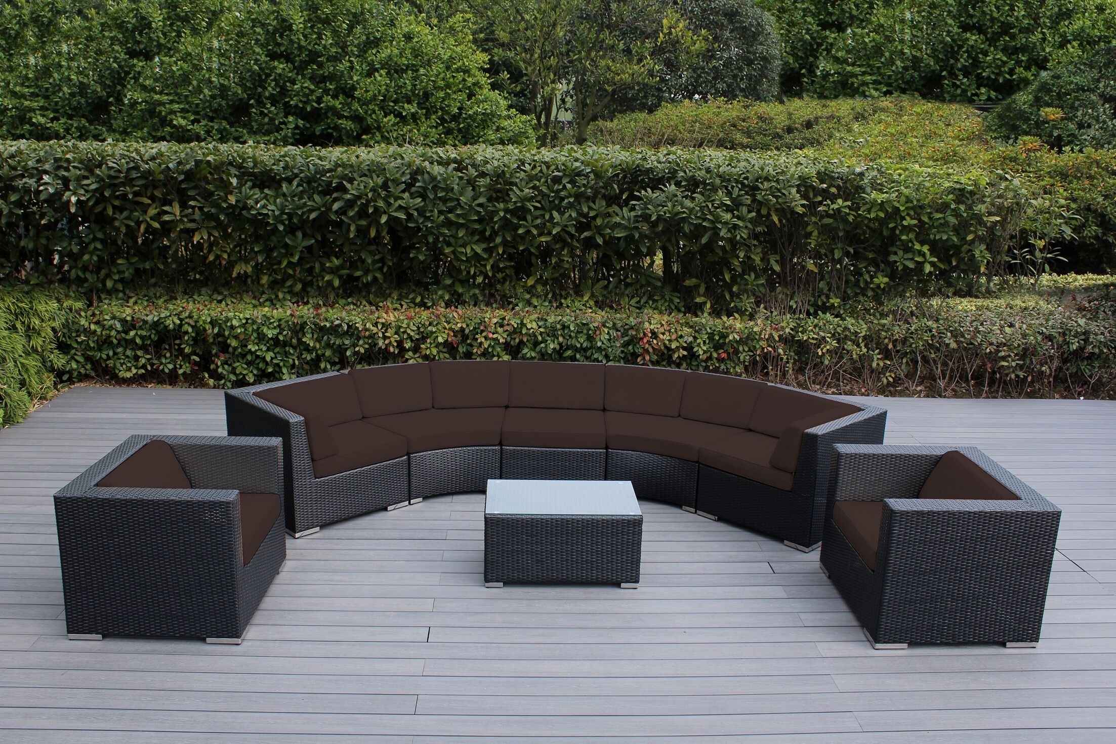 Popham 8 Piece Rattan Sectional Set with Cushions Cushion Color: Brown