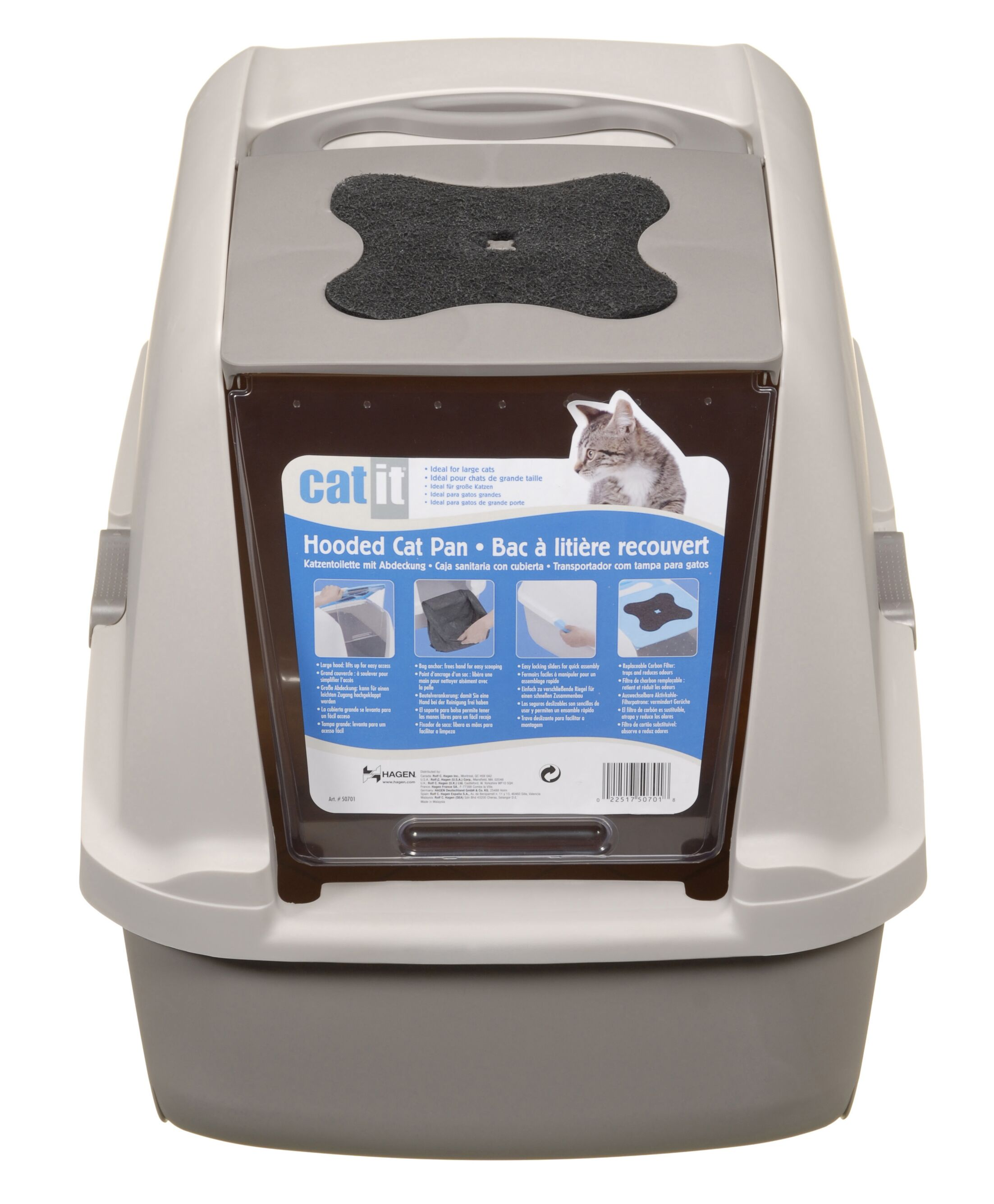 Catit Hooded Cat Litter Pan Color: Gray