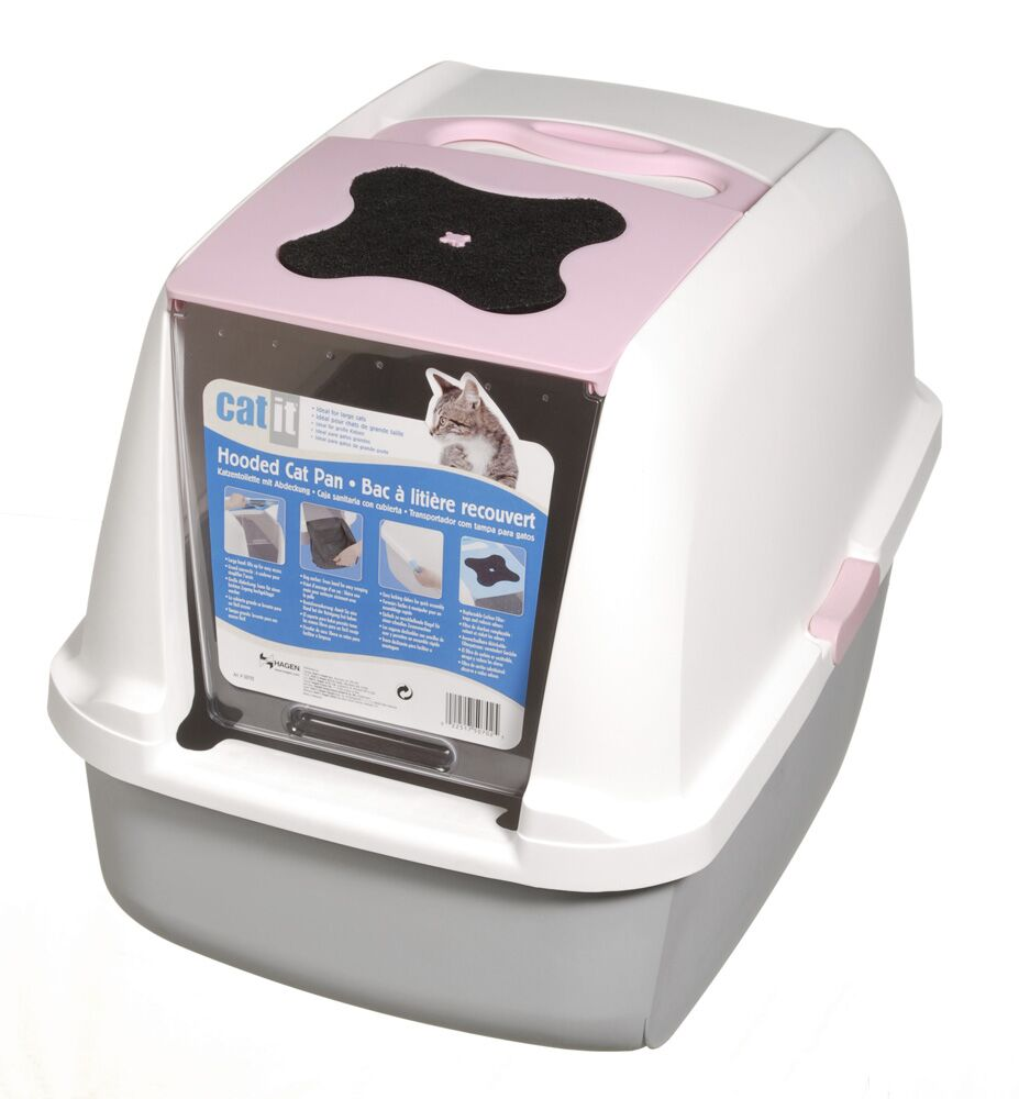 Catit Hooded Cat Litter Pan Color: White/Pink