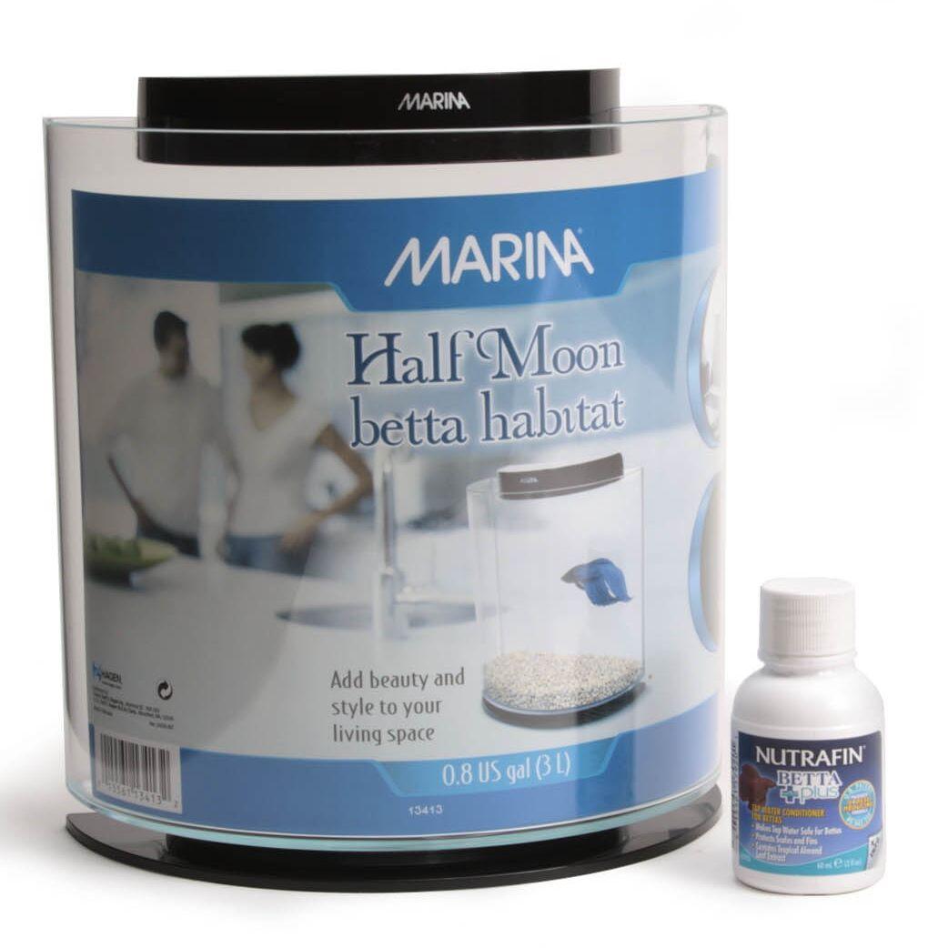 Marina 0.8 Gallon Half-Moon Betta Aquarium Kit