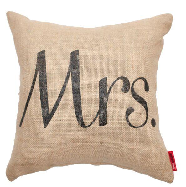 Expressive Mrs. Burlap Jute Throw Pillow