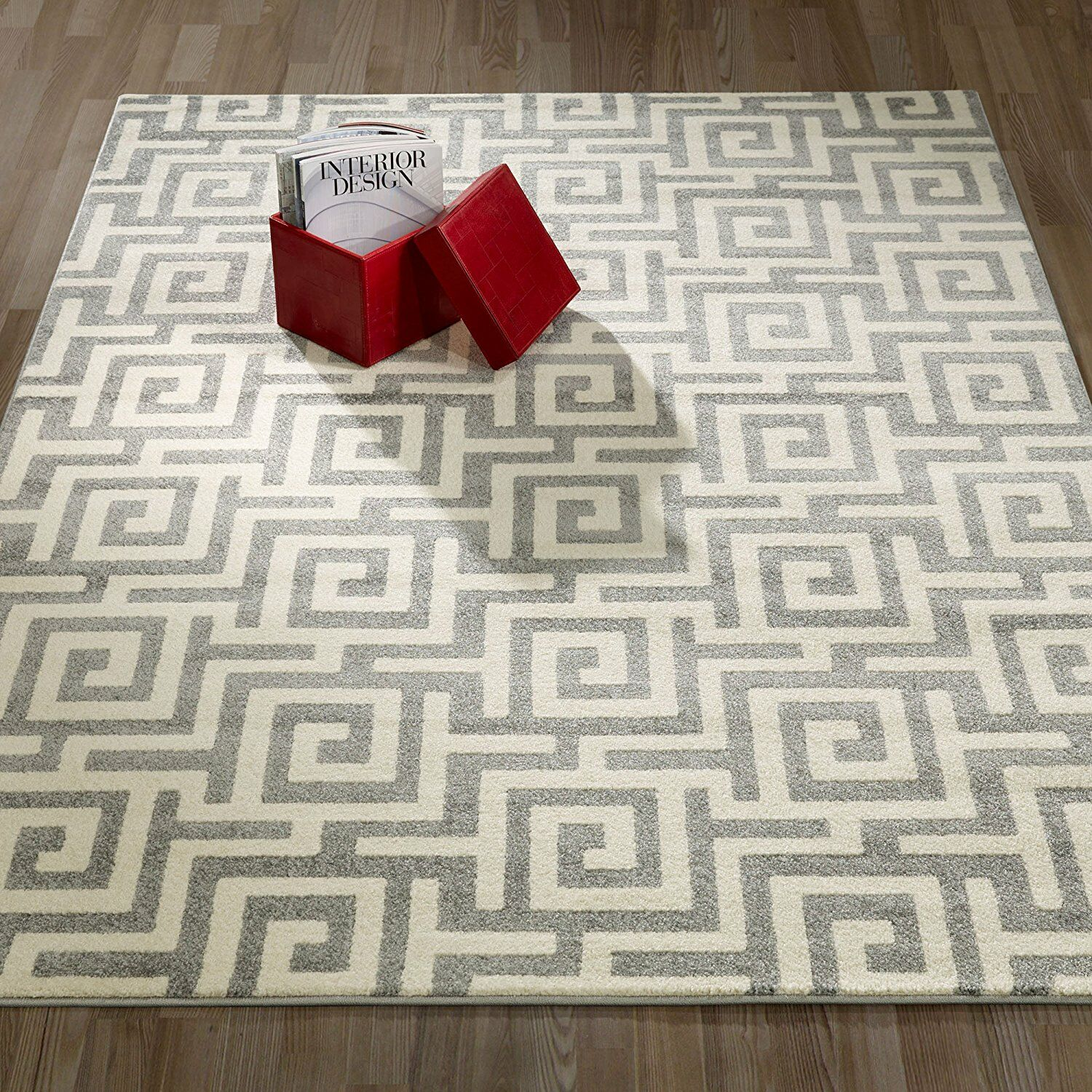 Honey Geometric/Greek Key Light Gray Area Rug