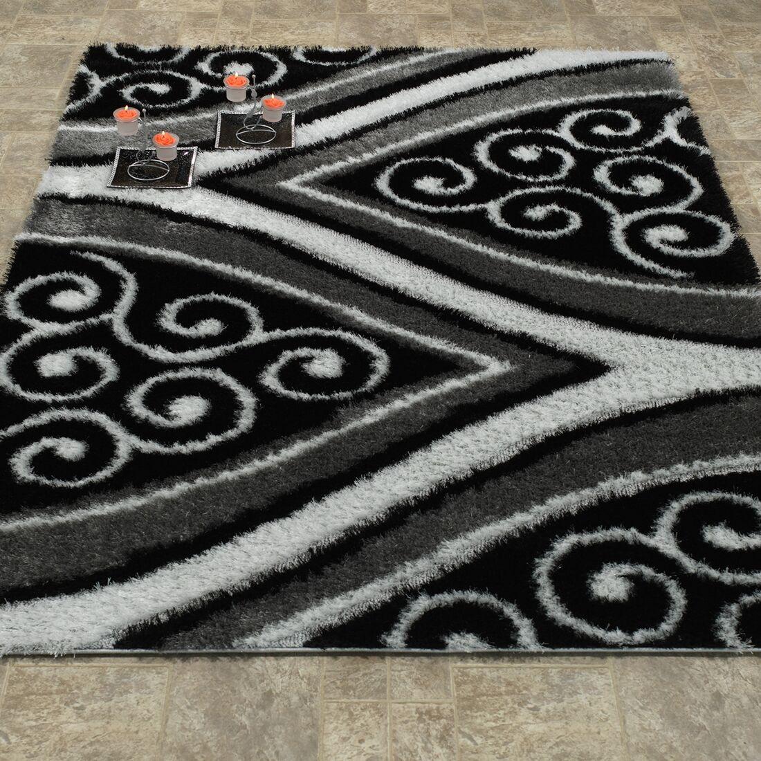 Morman Shaggy 3D Wishbone Spiral Black Area Rug