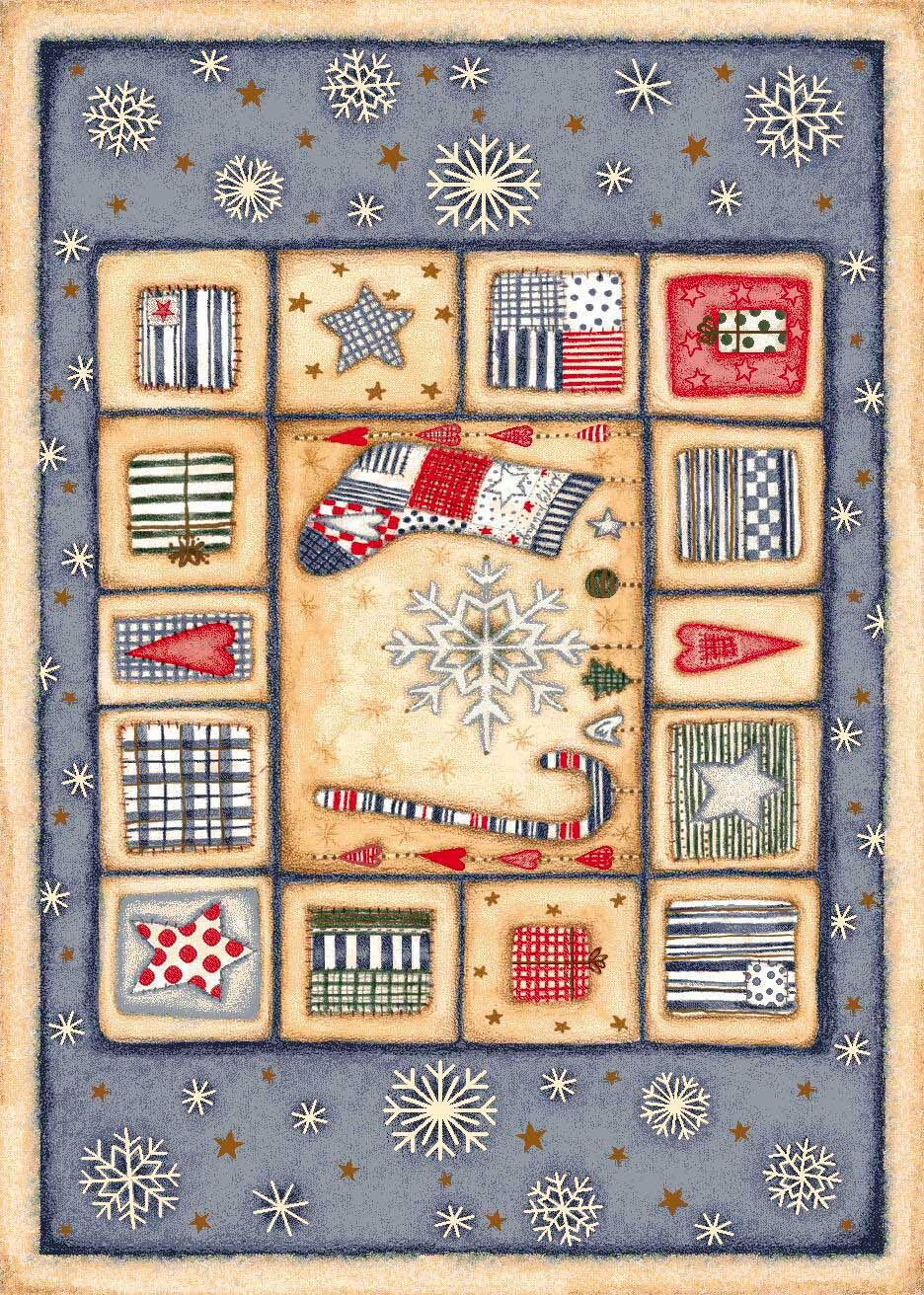 Winter Seasonal Holiday Patch of Snow Blue/ Biege Area Rug Rug Size: Rectangle 3'10