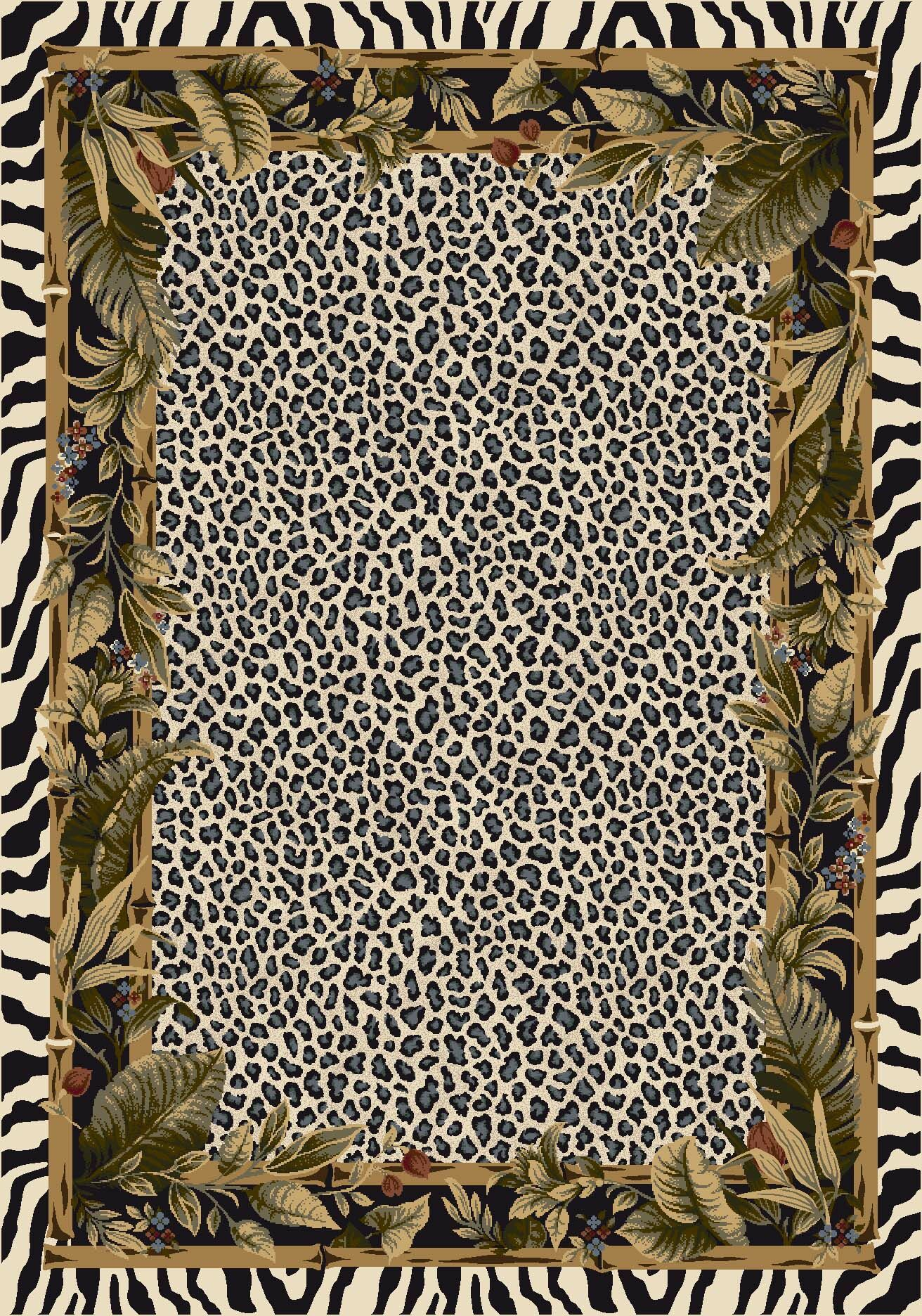 Signature Jungle Safari Snow Leopard Area Rug Rug Size: Oval 3'10