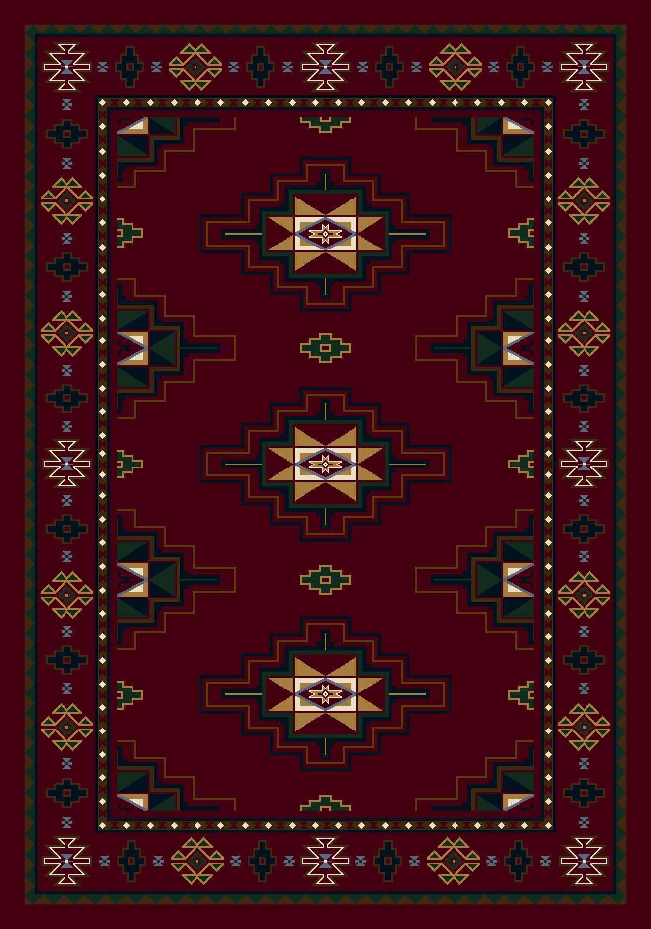 Signature Prairie Star Garnet Area Rug Rug Size: Rectangle 7'8