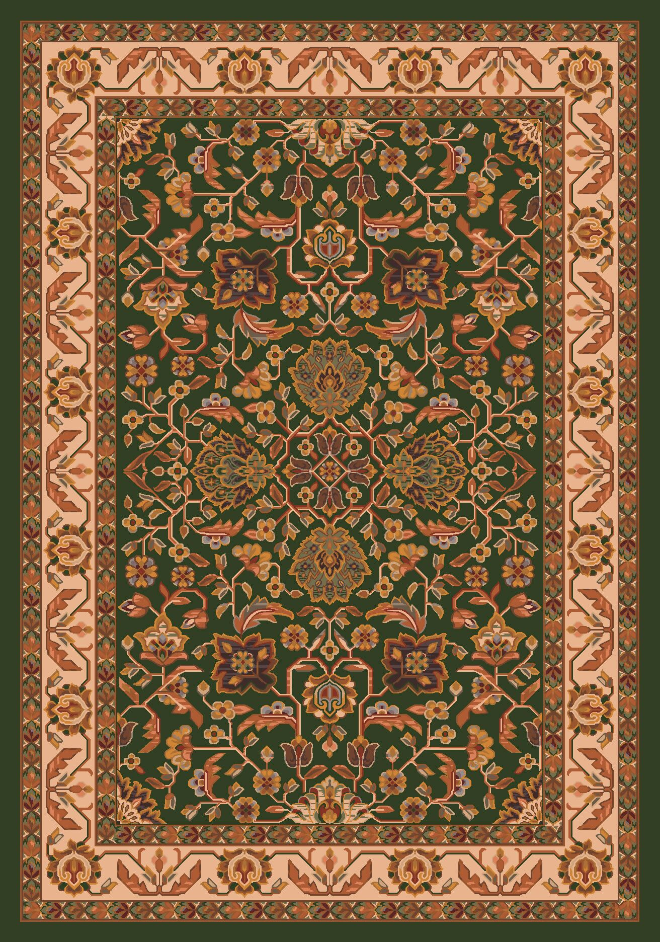 Pastiche Abadan Lance Green Rug Rug Size: Oval 3'10