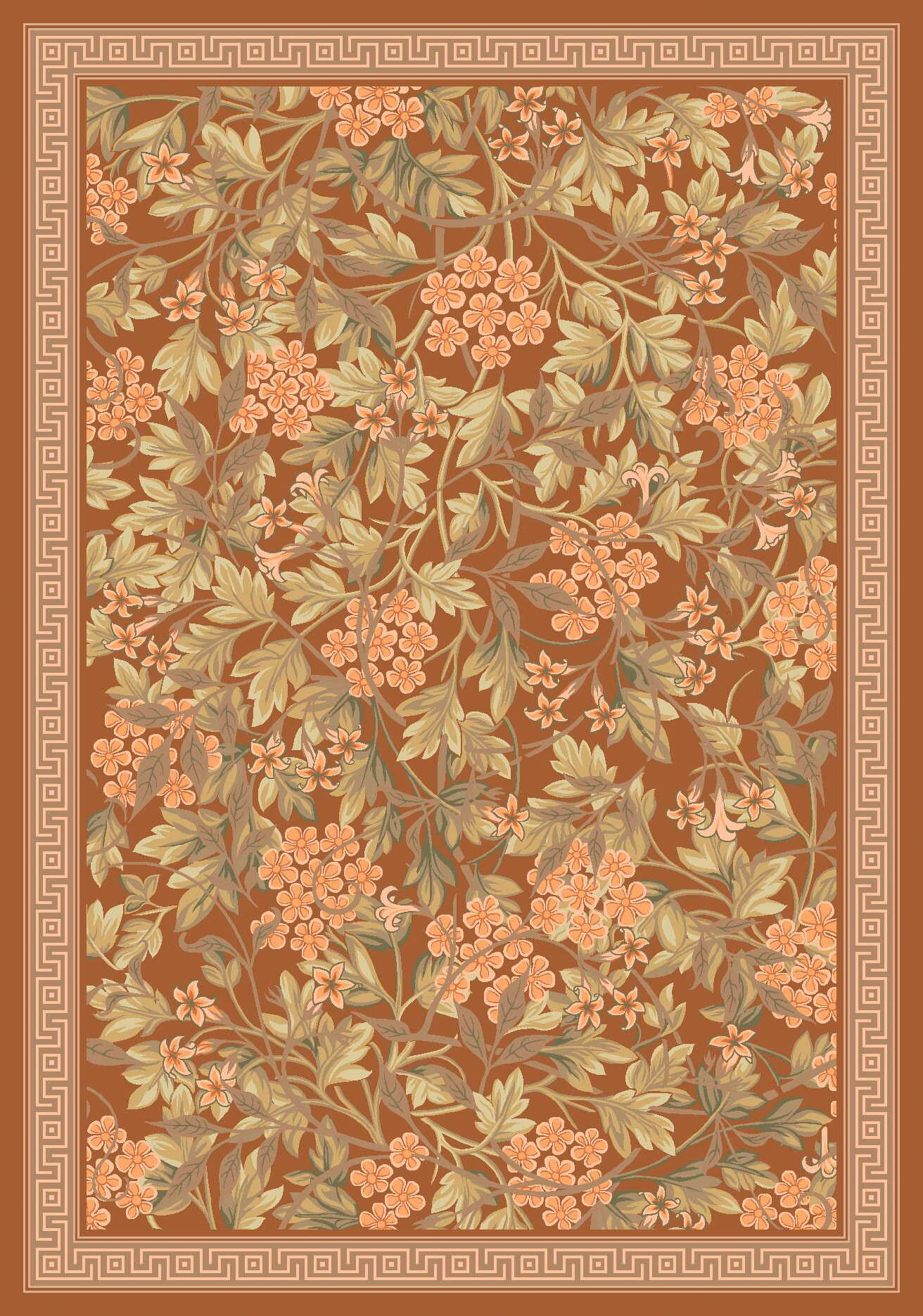 Pastiche Delphi Nutmeg Floral Rug Rug Size: Oval 7'8