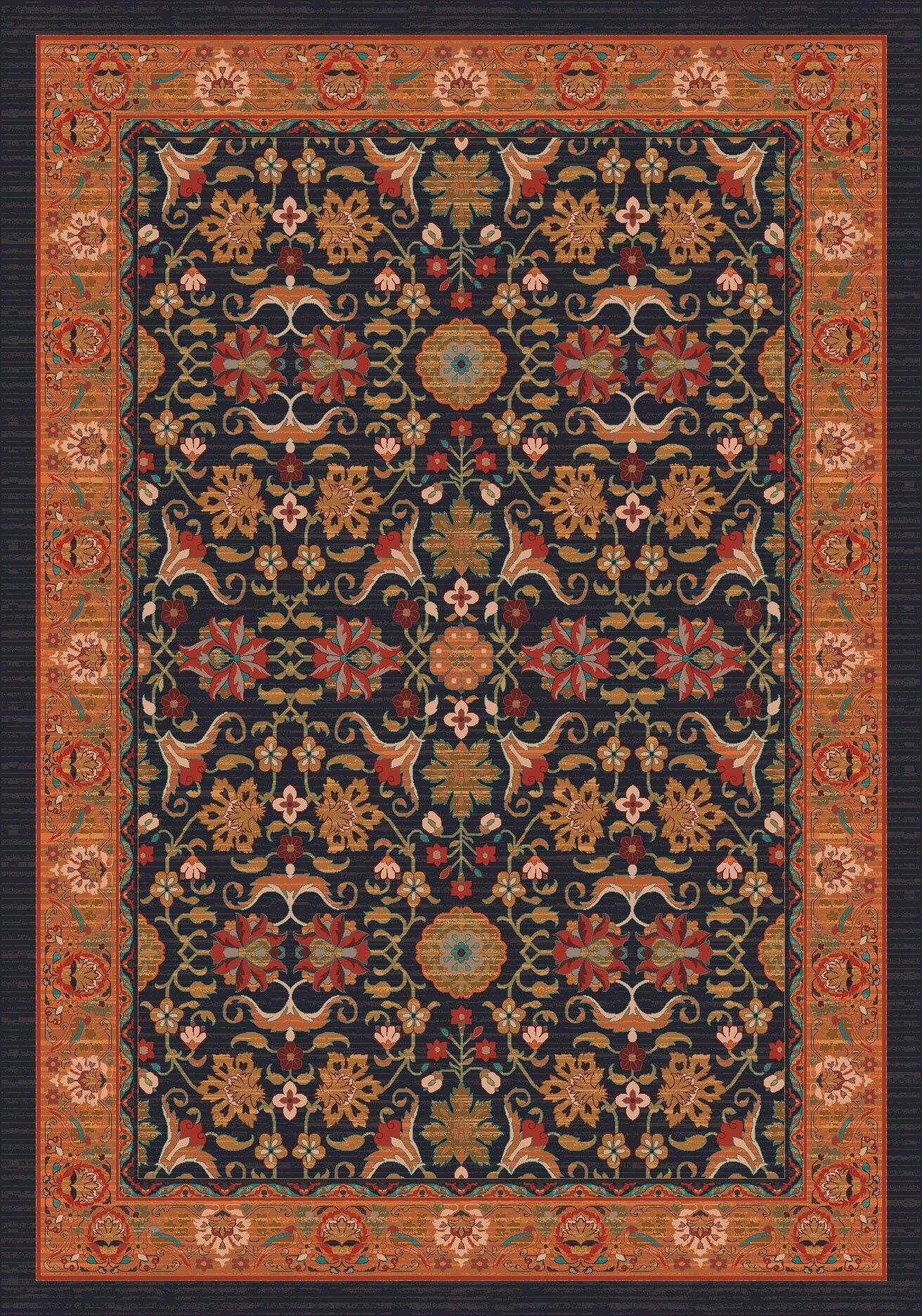Pastiche Kamil Ebony Folk/Tribal Rug Rug Size: Rectangle 5'4