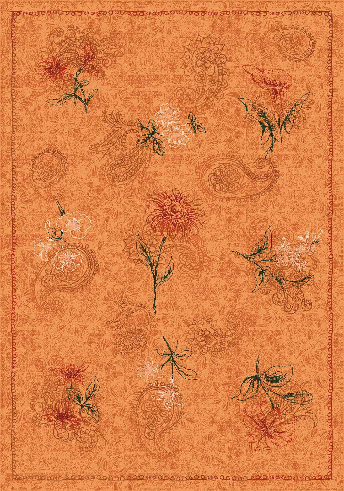 Pastiche Vintage Flaxen Orange Area Rug Rug Size: Rectangle 7'8