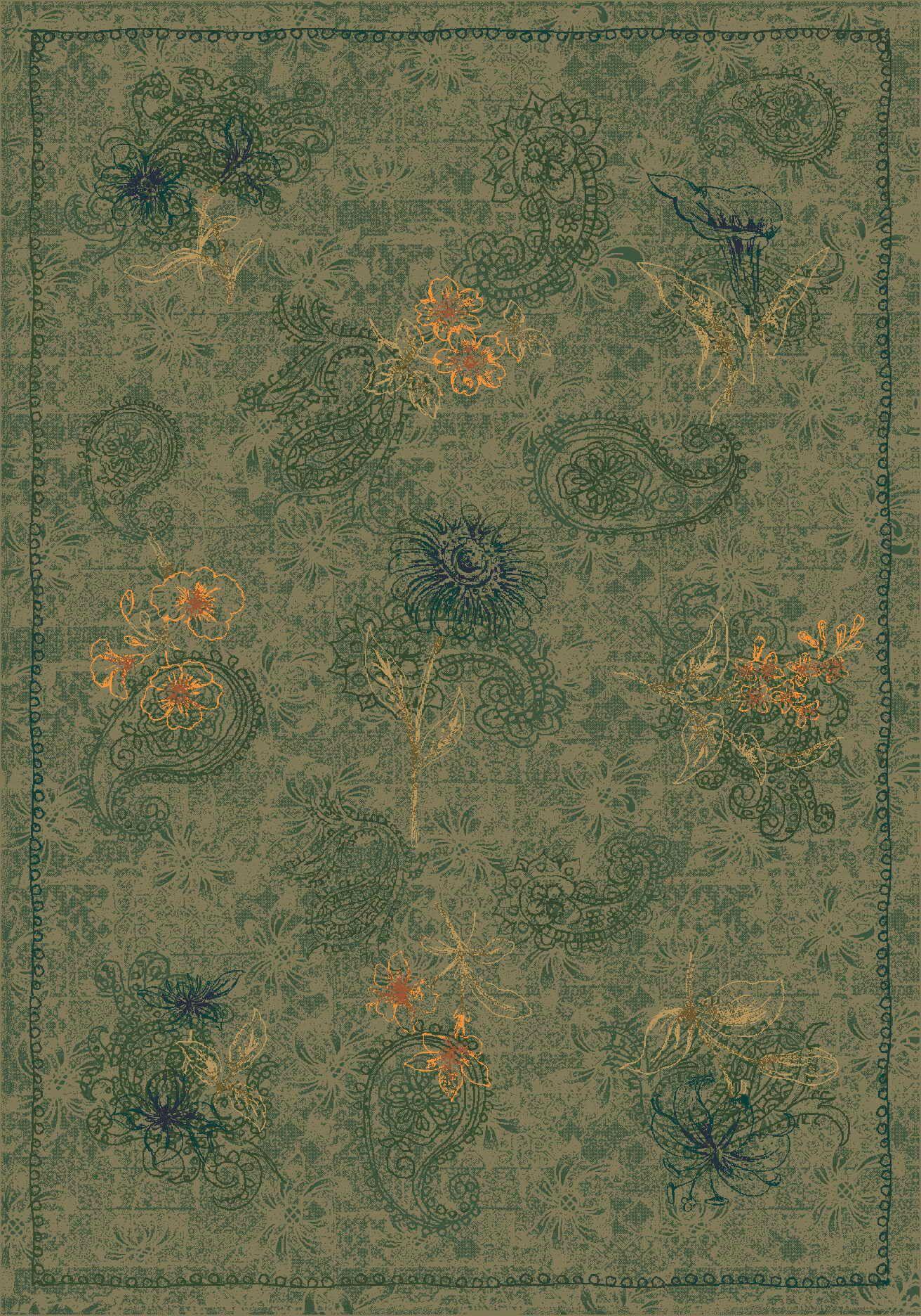 Pastiche Vintage Cilantro Green Area Rug Rug Size: Rectangle 3'10