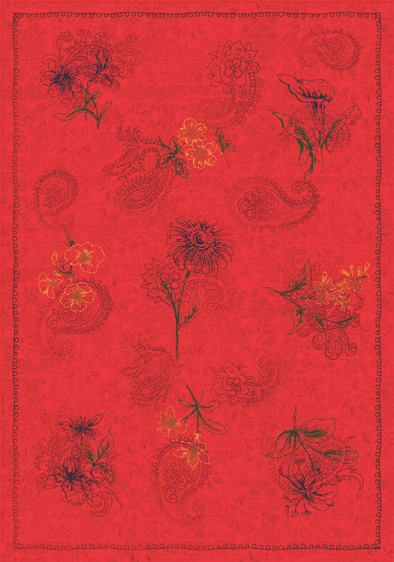 Pastiche Vintage Aurora Red Area Rug Rug Size: Rectangle 7'8
