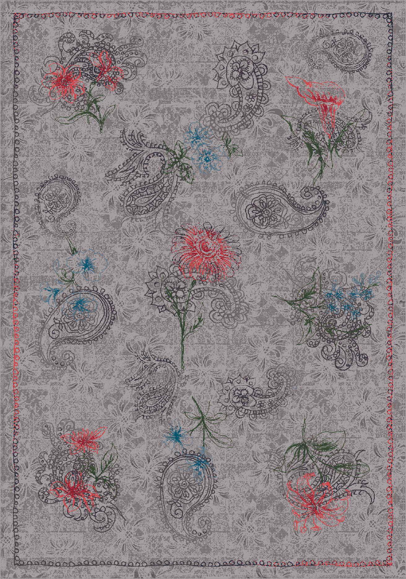 Pastiche Vintage Wispy Gray Area Rug Rug Size: Octagon 7'7