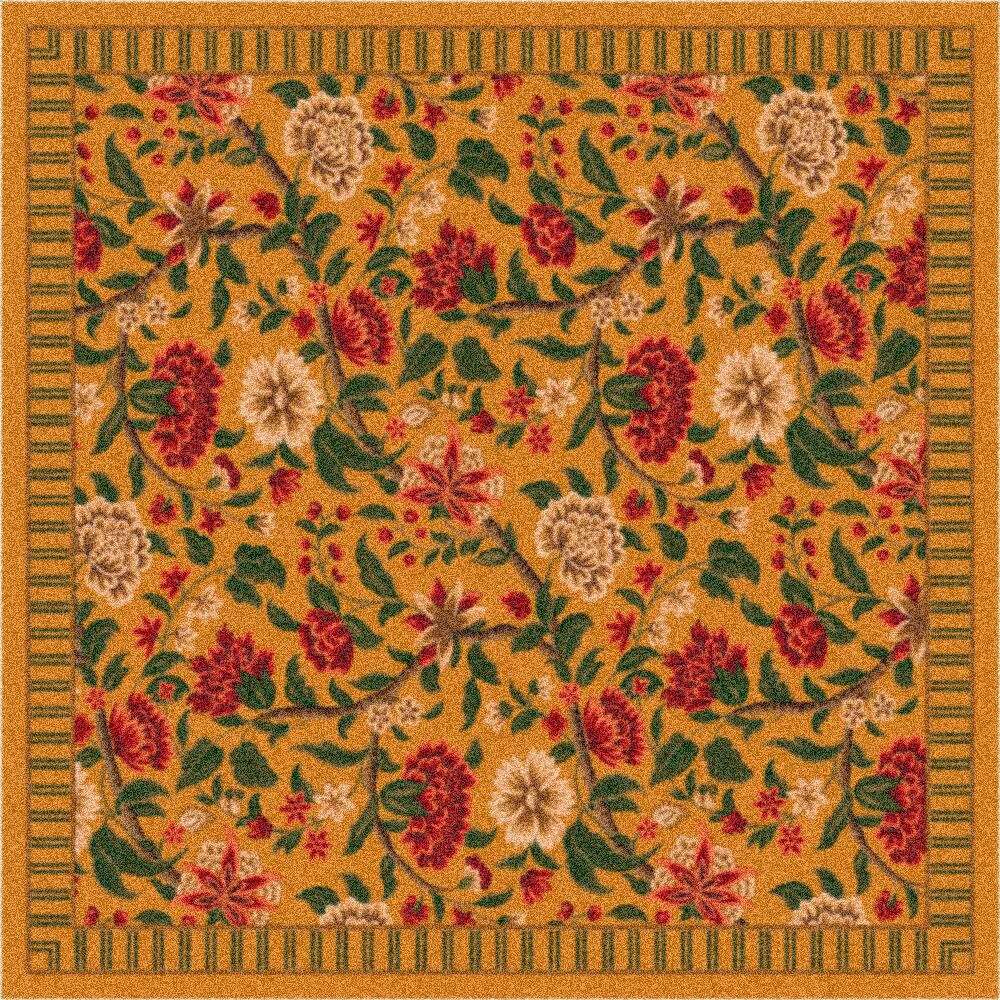 Pastiche Vachell Floral Gold Area Rug Rug Size: Rectangle 5'4