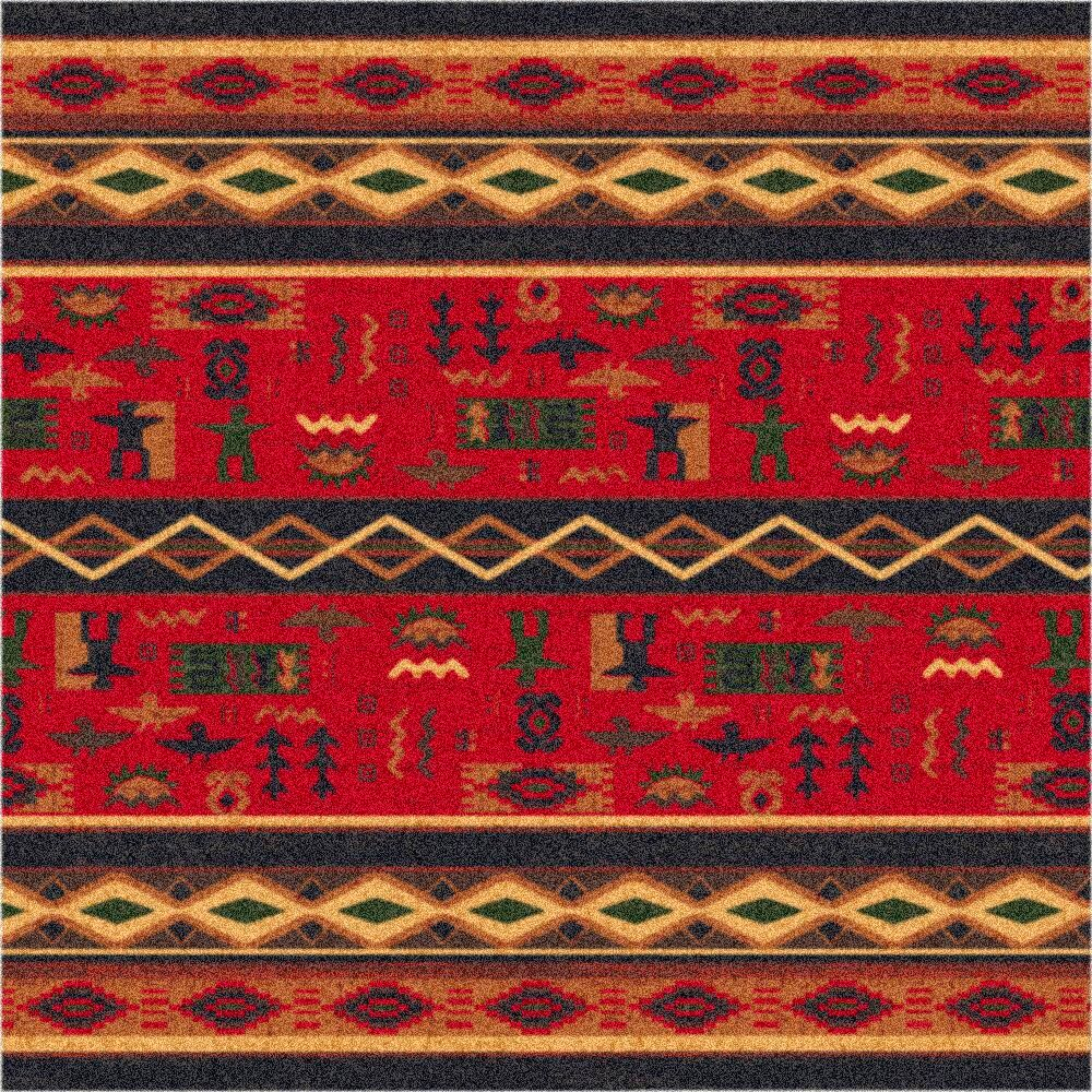 Pastiche Wide Ruins Red Area Rug Rug Size: Oval 7'8