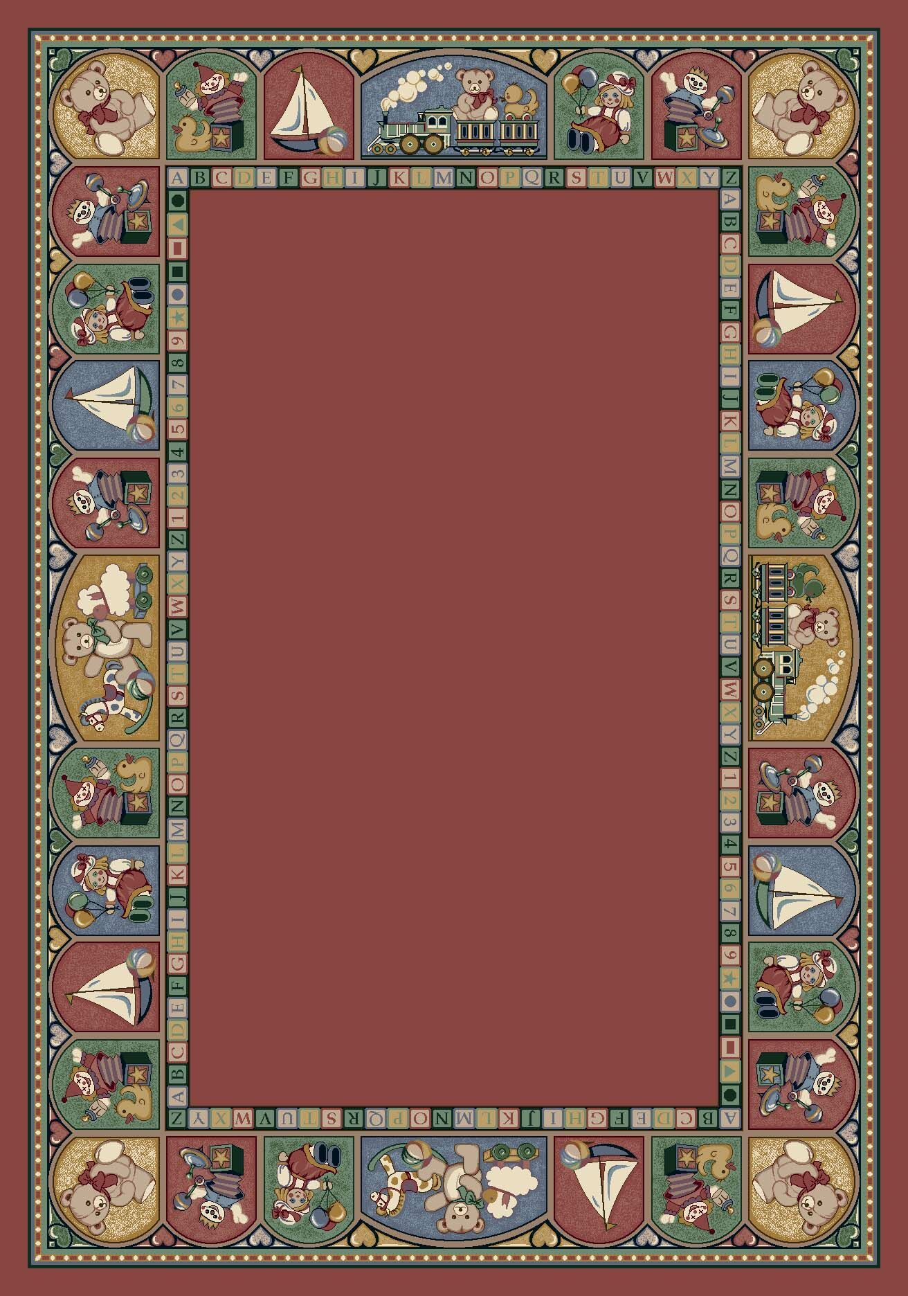 Signature Toy Parade Rose Area Rug Rug Size: Oval 5'4