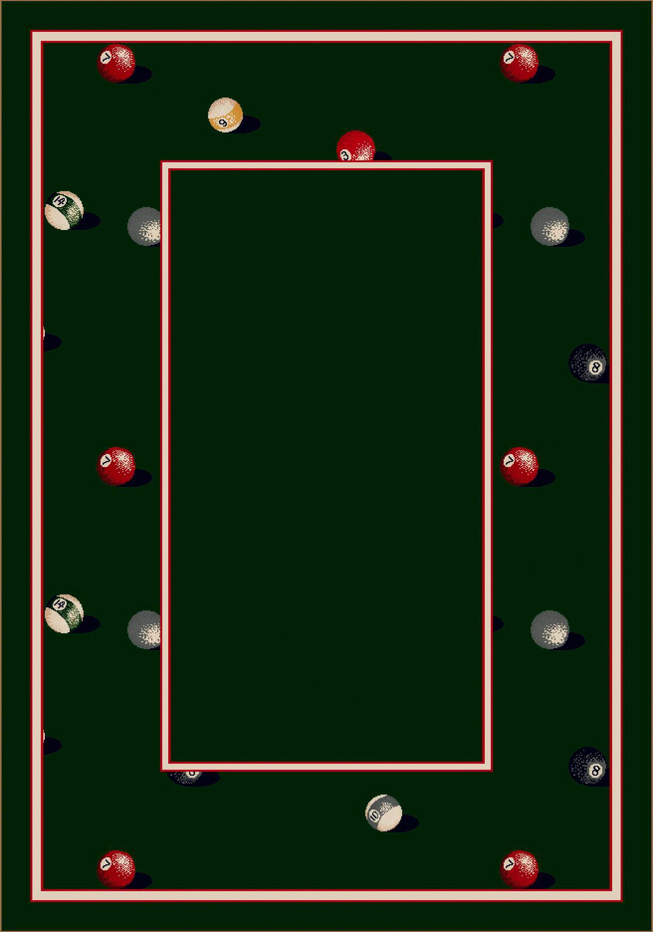 Design Center Emerald Billiards Area Rug Rug Size: Round 7'7