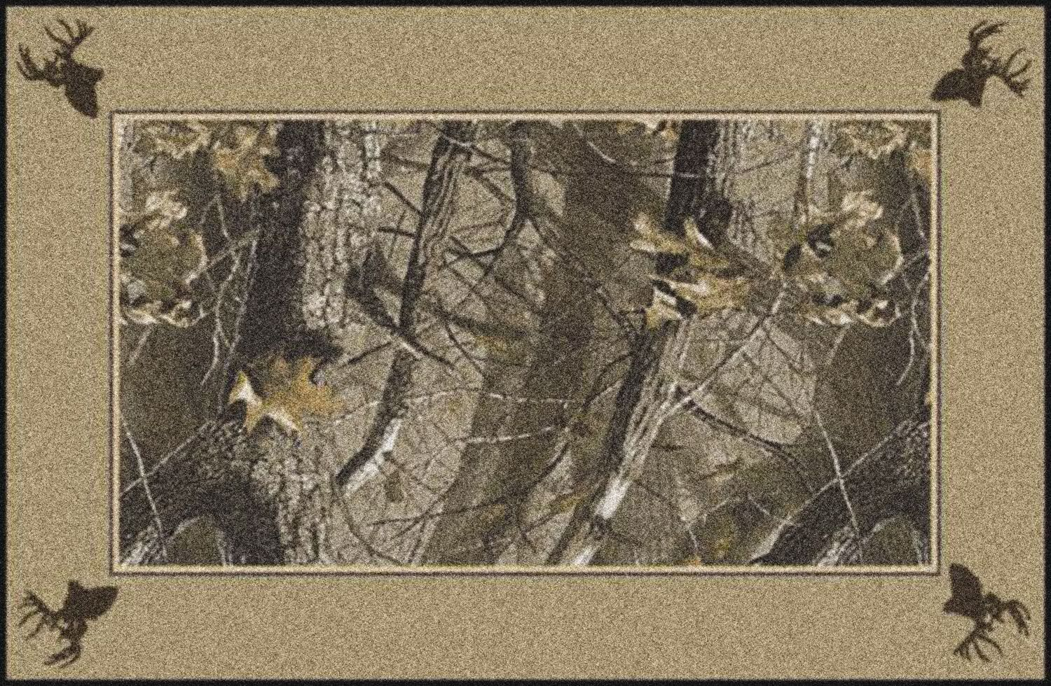 Realtree Hardwoods Solid Border Brown Area Rug Rug Size: Rectangle 5'4